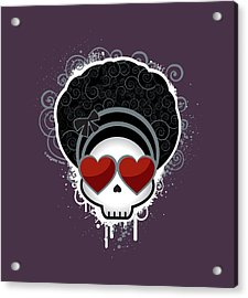 Cartoon Skull With Hearts As Eyes Acrylic Print by Sherrie Thai