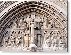 Carved Stone Biblical Mural Above Catholic Cathedral Doorway  Acrylic Print by Gary Whitton