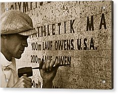 Carving The Name Of Jesse Owens Into The Champions Plinth At The 1936 Summer Olympics In Berlin Acrylic Print