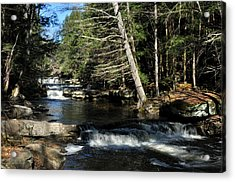Cascade In The Catskills Acrylic Print by Diane Lent