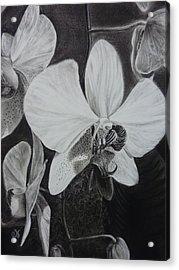 Cascade Of Orchidds Acrylic Print by Estephy Sabin Figueroa