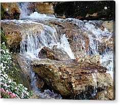 Cascading Water Acrylic Print by Barbara Middleton