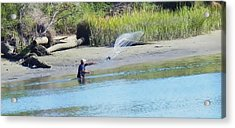 Casting For Shrimp At Hunting Island Acrylic Print by Patricia Greer