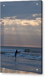 Casting Into The Surf Acrylic Print by Bill Cannon
