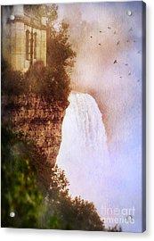 Castle At The Edge Of The Falls Acrylic Print by Jill Battaglia