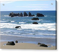 Cat And Kittens Rocks Acrylic Print by Will Borden