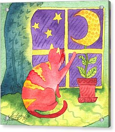 Cat And Moon Acrylic Print by Kristen Fox