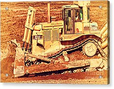 Cat Bulldozer . 7d10945 Acrylic Print by Wingsdomain Art and Photography