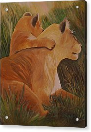 Acrylic Print featuring the painting Cat Family by Christy Saunders Church