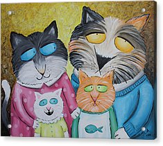 Cat Family Portrait Acrylic Print by Jennifer Alvarez