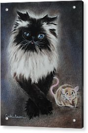 Cat N Mouse Say Cheeeeeeese Acrylic Print
