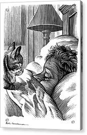 Cat Watching Sleeping Man, Artwork Acrylic Print by Bill Sanderson