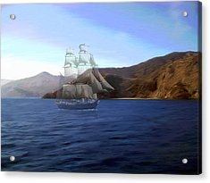 Catalina Shoreline Ghost Ship Acrylic Print by Snake Jagger