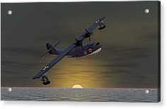 Acrylic Print featuring the digital art Catalina Sunset by Walter Colvin