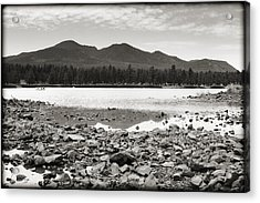 Cataract Lake Black And White Acrylic Print by Ricky Barnard