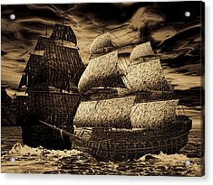 Catastrophic Collision-sepia Acrylic Print by Lourry Legarde
