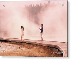 Catching The Steam In Yellowstone Acrylic Print