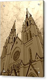 Cathedral Of St John The Baptist In Sepia Acrylic Print by Suzanne Gaff