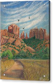 Cathedral Rock In Sedona Acrylic Print by Marcia  Perry