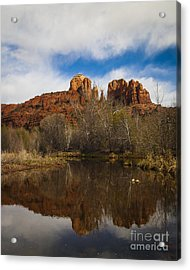 Cathedral Rock Reflections Portrait 2 Acrylic Print by Darcy Michaelchuk