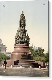 Catherine II Monument In St. Petersburg Russia Acrylic Print by International  Images