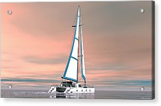 Acrylic Print featuring the painting Catsailing Sunset by Walter Colvin