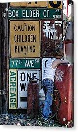 Caution Acrylic Print by Nichon Thorstrom