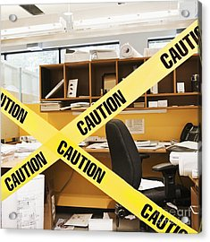 Caution Tape Blocking A Cubicle Entrance Acrylic Print by Jetta Productions, Inc