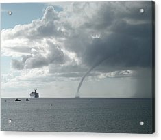 Cayman Water Spout Acrylic Print by Peter Panagos