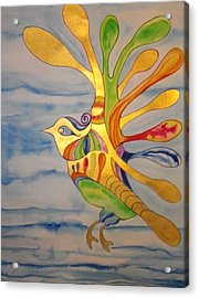 Cecilia The Psychedelic Seabird Acrylic Print by Erika Swartzkopf