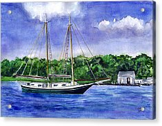 Acrylic Print featuring the painting Cedar Beach Schooner by Clara Sue Beym