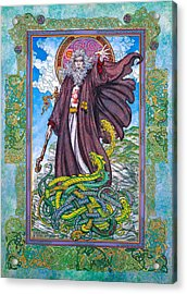 Celtic Irish Christian Art - St. Patrick Acrylic Print by Jim FitzPatrick
