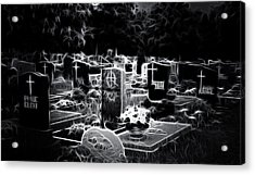 Cemetary At Night Acrylic Print by Ellen Heaverlo