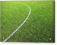 Center Circle On Football Pitch Acrylic Print by Richard Newstead