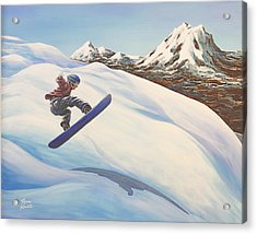 Central Oregon Snowboarding Acrylic Print by Janice Smith