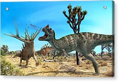 Ceratosaurus And Dacentrurus, Artwork Acrylic Print by Jose Antonio PeÑas