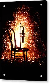 Chair And Horn With Fireworks Acrylic Print by Garry Gay