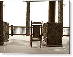 Chair On A Snowy Balcony Acrylic Print by Will and Deni McIntyre