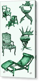 Chair Poster In Green  Acrylic Print by Adendorff Design