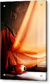 Chair With Coffee Cup Acrylic Print by HD Connelly
