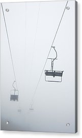 Chairlift In The Fog Acrylic Print by Matthias Hauser