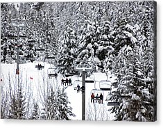 Chairlift In The Snow, Alyeska Ski Resort Acrylic Print by Mark Newman