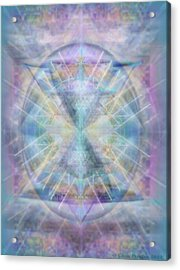 Chalice Of Vorticspheres Of Color Shining Forth Over Tapestry Acrylic Print