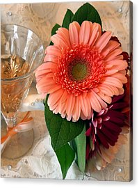 Champagne And Daisies Acrylic Print by Lynnette Johns