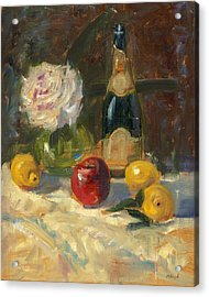 Champagne And Roses Acrylic Print by Marlyn Boyd
