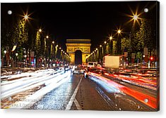 Champs-elysees And The Arc De Triomphe Acrylic Print by Anthony Festa
