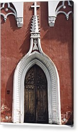 Chapel Entrance In White And Brick Red Acrylic Print by Agnieszka Kubica