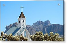 Acrylic Print featuring the photograph Chapel In Superstitions by Penny Meyers