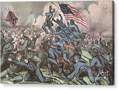 Charge Of The 54th Massachusetts Acrylic Print by Photo Researchers