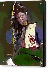 Acrylic Print featuring the mixed media Charles American Horse by Charles Shoup